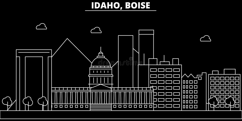 Boise silhouette skyline. USA - Boise vector city, american linear architecture, buildings. Boise travel illustration royalty free illustration