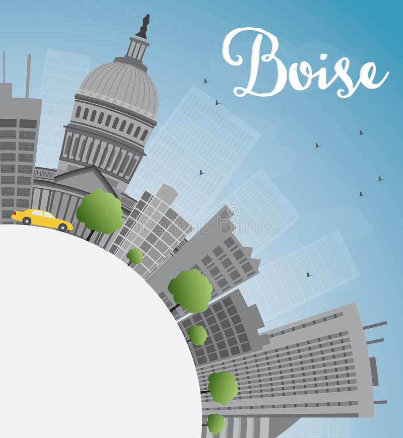 Boise Skyline with Grey Building, Blue Sky and copy space vector illustration