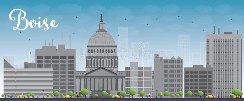 Boise Skyline with Grey Building and Blue Sky vector illustration