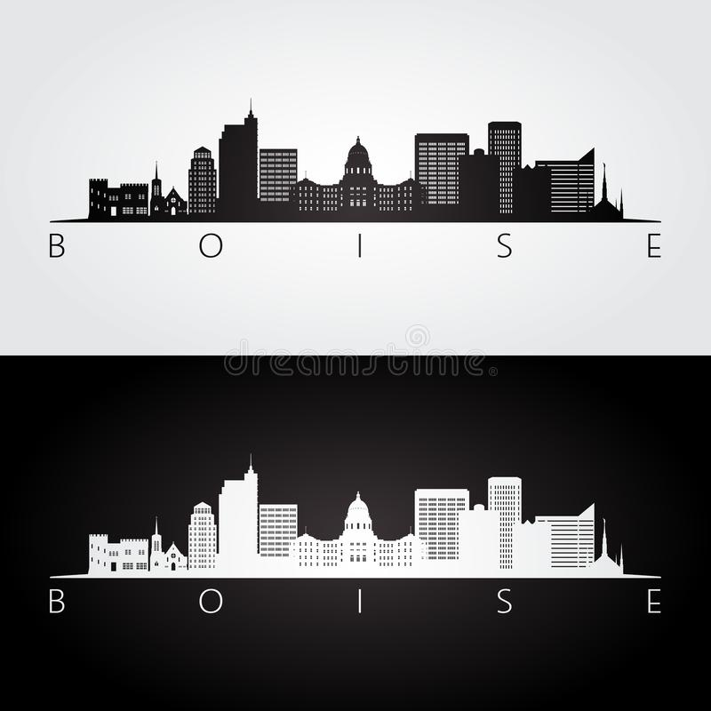Boise USA skyline and landmarks silhouette royalty free illustration