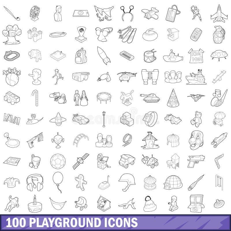 100 boisk ikon ustawiających, konturu styl royalty ilustracja