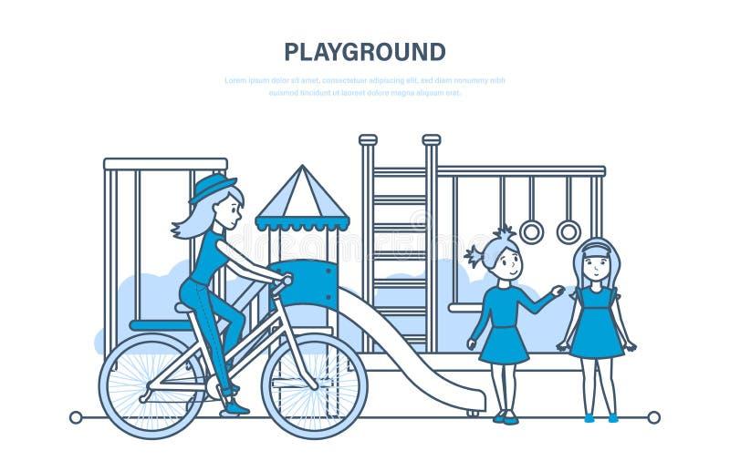 Boiska pojęcie Dzieciaki na boisku w parku, na zewnątrz domu ilustracja wektor