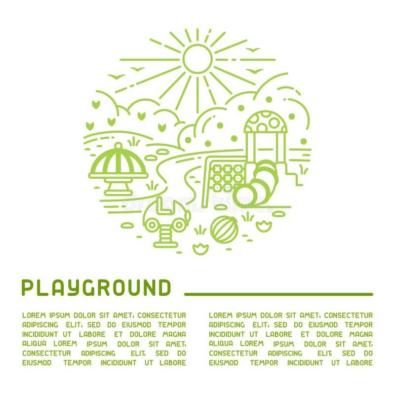 Boiska round pojęcie z liniowymi elementami i próbka tekstem ilustracja wektor