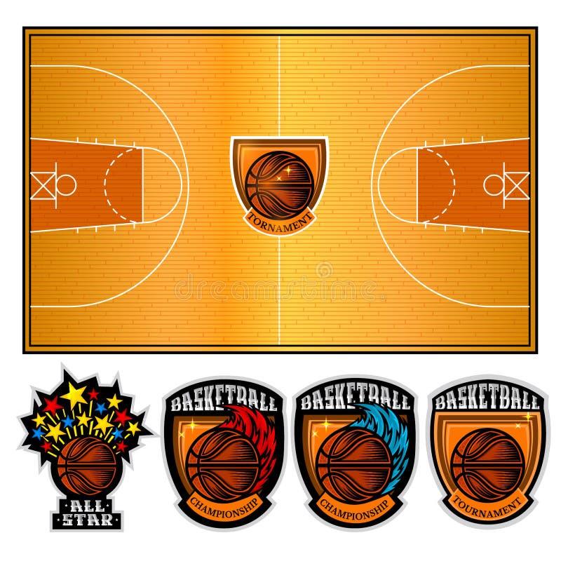 Boisko do koszykówki i cztery drużynowej etykietki z piłką Odizolowywająca wektorowa ilustracja royalty ilustracja