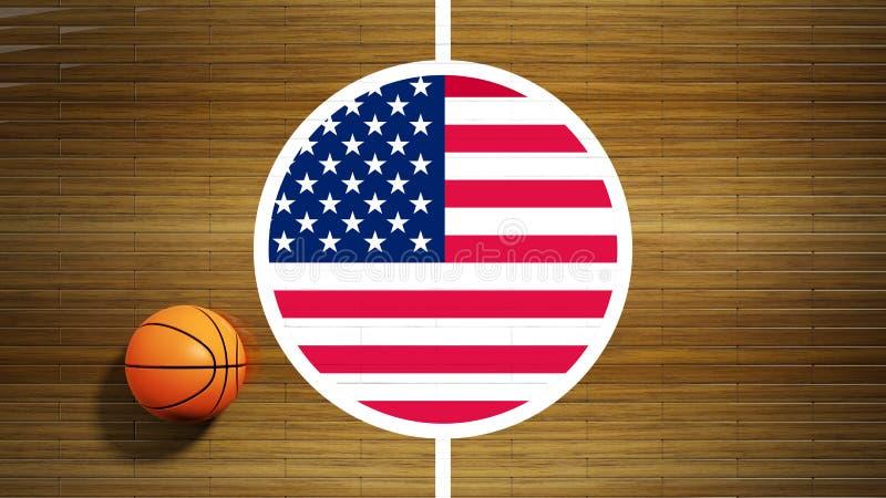 Boisko do koszykówki parkietowej podłoga centrum ilustracji
