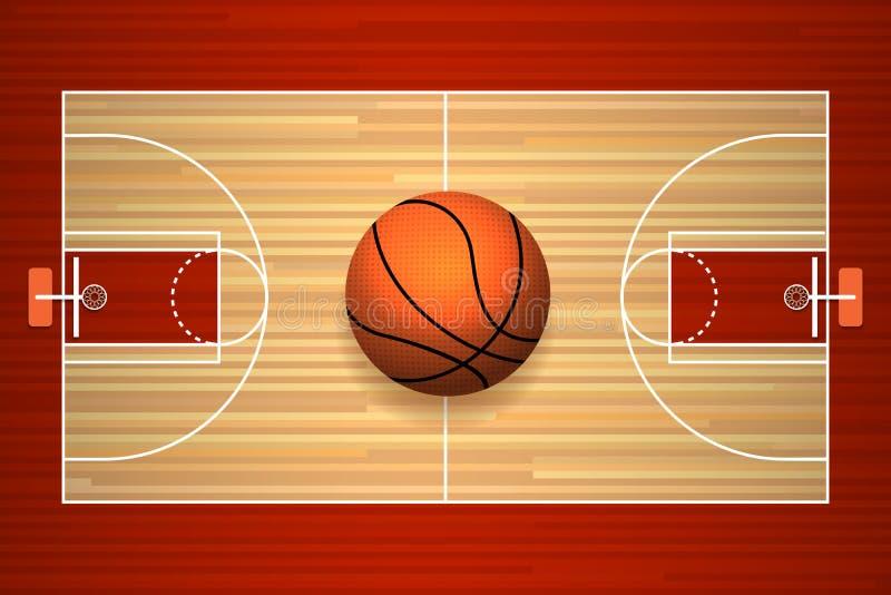 Boisko do koszykówki podłogowy odgórny widok royalty ilustracja