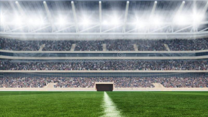 Boisko do piłki nożnej z światłami i spectors panoramy 3d renderingiem obraz stock