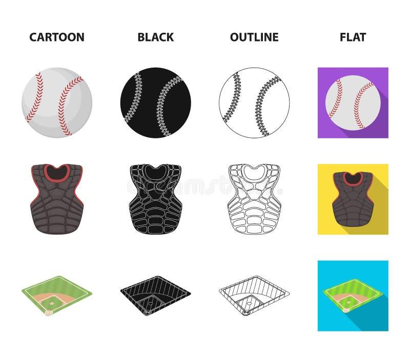 Boisko, kurtka, piłka, ochronnego kamizelka baseballa ustalone inkasowe ikony w kreskówce, czerń, kontur, mieszkanie stylowy wekt ilustracji