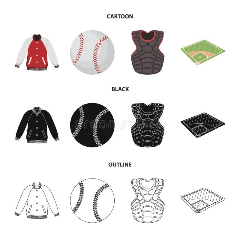 Boisko, kurtka, piłka, ochronnego kamizelka baseballa ustalone inkasowe ikony w kreskówce, czerń, konturu stylowy wektorowy symbo ilustracji