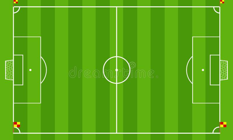 Boisko piłkarskie lub boisko do piłki nożnej na odgórnego widoku tle Projekta wektoru zieleni sąd dla meczu piłkarskiego ilustracja wektor