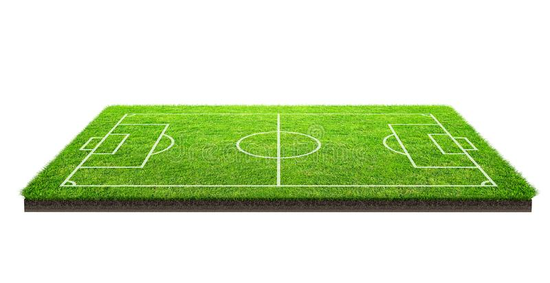 Boisko piłkarskie lub boisko do piłki nożnej na zielonej trawy wzoru teksturze odizolowywającej na białym tle z ścinek ścieżką mi ilustracja wektor