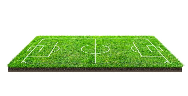 Boisko piłkarskie lub boisko do piłki nożnej na zielonej trawy wzoru teksturze odizolowywającej na białym tle z ścinek ścieżką mi royalty ilustracja