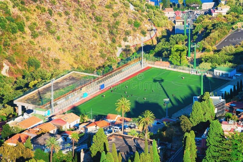 Boisko piłkarskie w Taormina Sicily obrazy stock