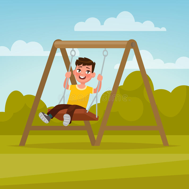 boisko Szczęśliwy chłopiec chlanie na huśtawce ilustracja wektor