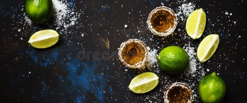 Boisson alcoolisée forte avec du sel et la chaux, fond foncé, dessus images stock