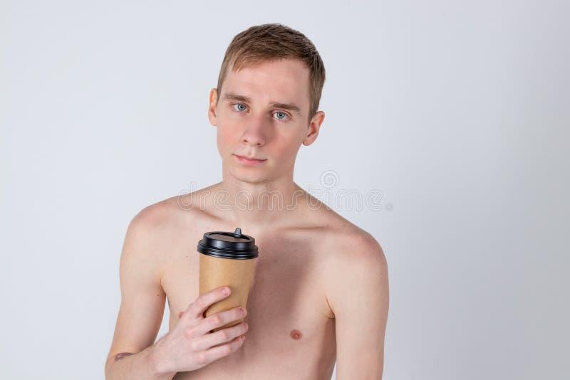 Boisson belle nue de type de tasse de café ou de thé Rafraîchissement et boisson de matin photographie stock