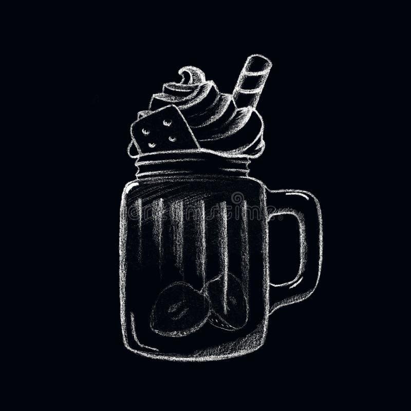 Boisson blanche de café de glace de craie sur le tableau noir Tasse de boissons d'isolement Dessert dans la tasse en verre illustration stock