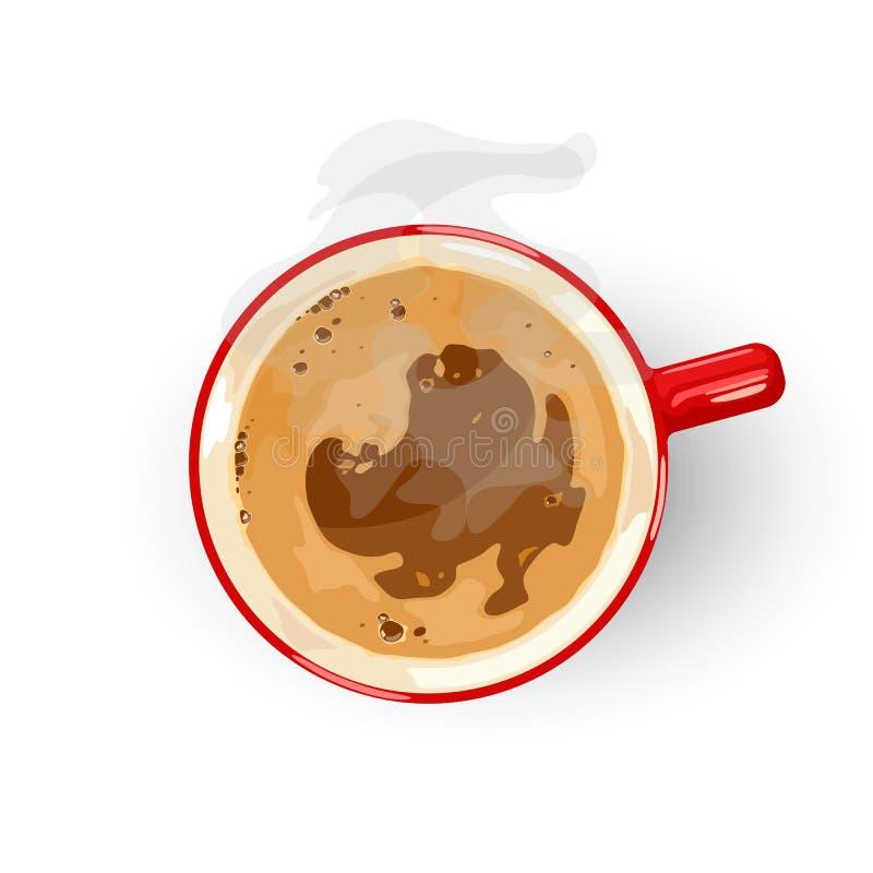 Boisson brassée savoureuse préparée à partir de grains de café rôtis Vue supérieure Americano, Espresso ou Noir long illustration libre de droits
