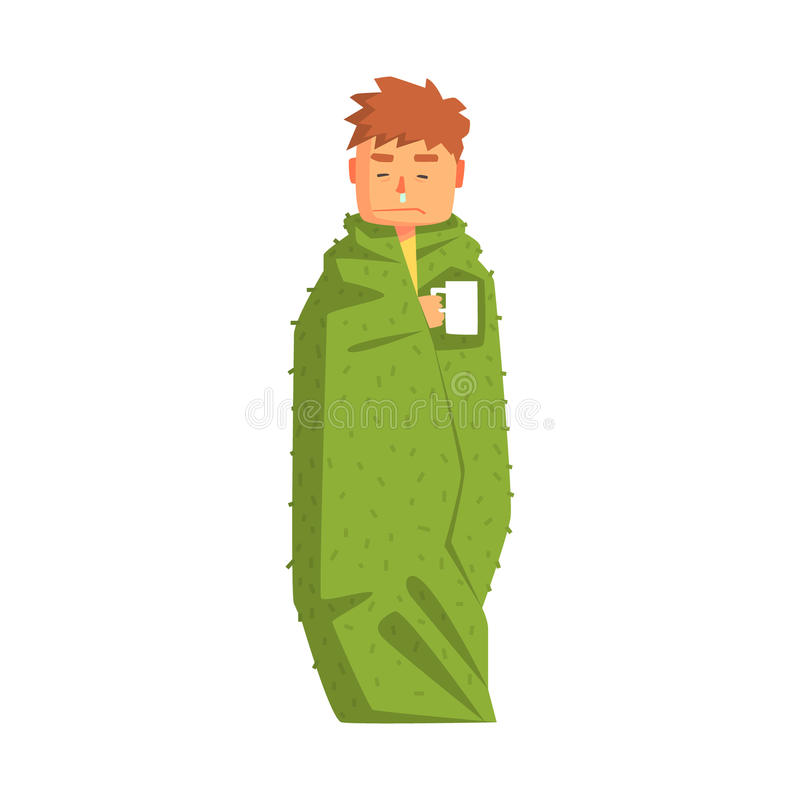 Boisson chaude de Guy Wrapped In Blanket With ayant le froid, Person Feeling Unwell adulte, malade, souffrant de la maladie illustration libre de droits