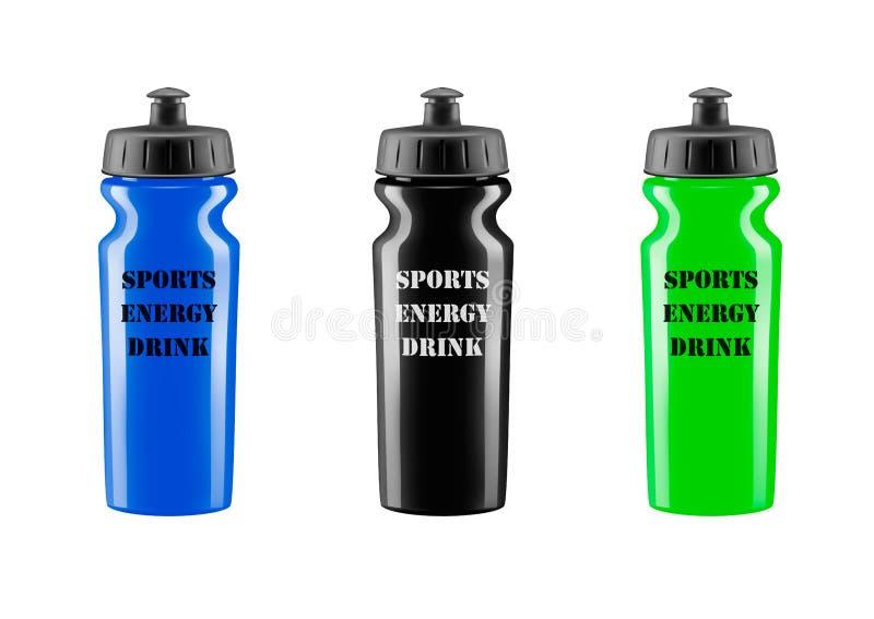 Boisson d'énergie de sports dans Dispositif trembleur en plastique illustration stock