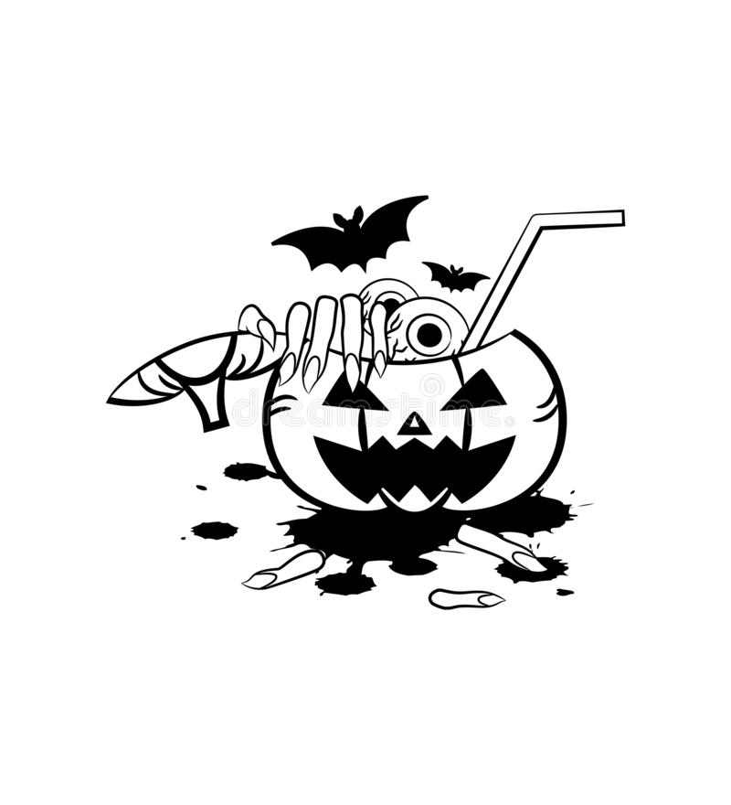 Boisson d'horreur en potiron pour Halloween avec le sang, les yeux, mais et le doigt, illustration de style d'ensemble illustration stock
