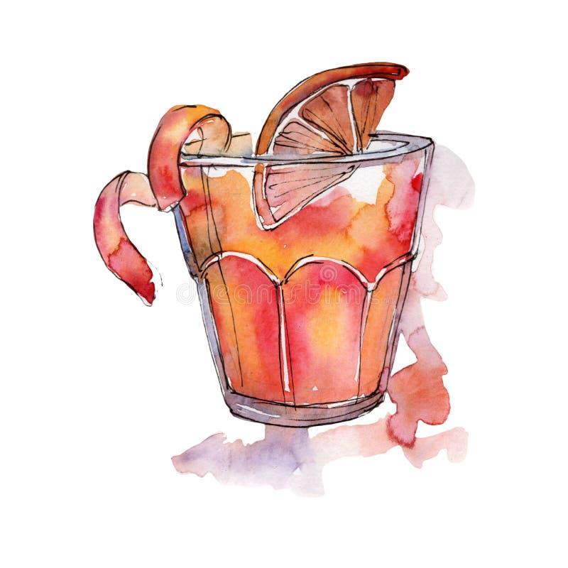 Boisson de cocktail de partie de barre d'Arnold Palmer Dessin de croquis d'isolement par boîte de nuit d'icône illustration libre de droits