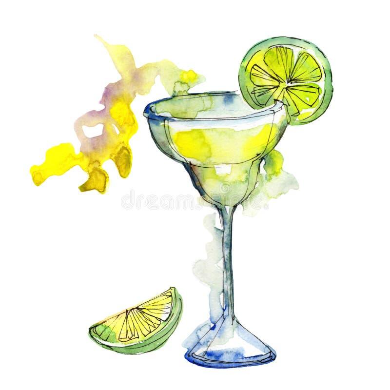 Boisson de cocktail de partie de barre de margarita Alcool dans l'ensemble en verre, illustration de menu de restaurant illustration stock