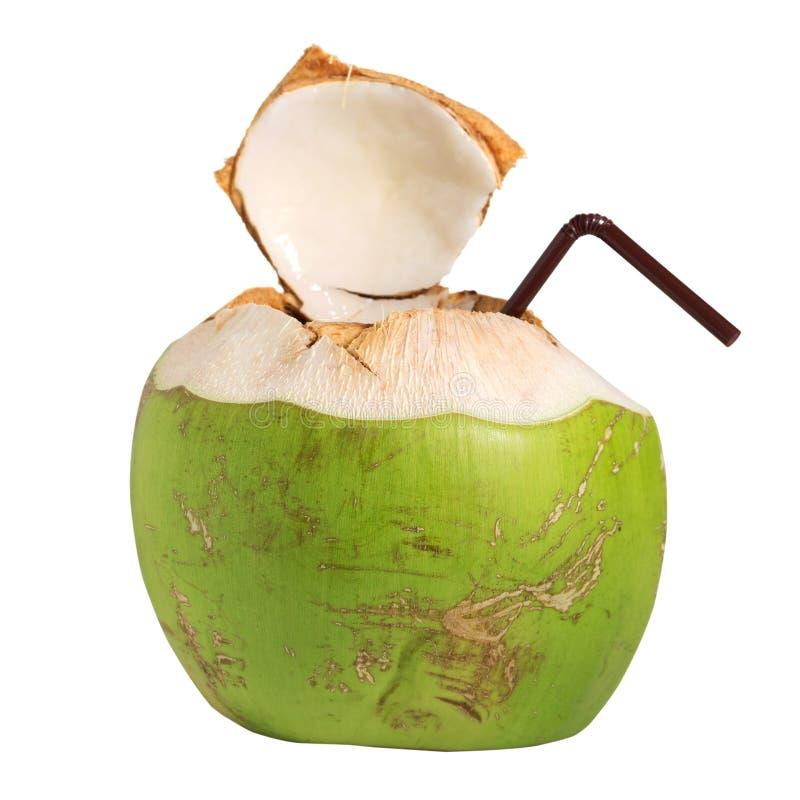 Boisson de fruit de l'eau de noix de coco d'isolement sur le blanc photos stock