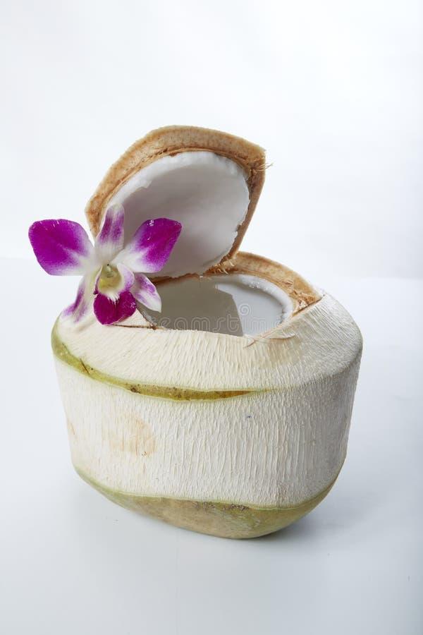 Boisson de l'eau de noix de coco images stock