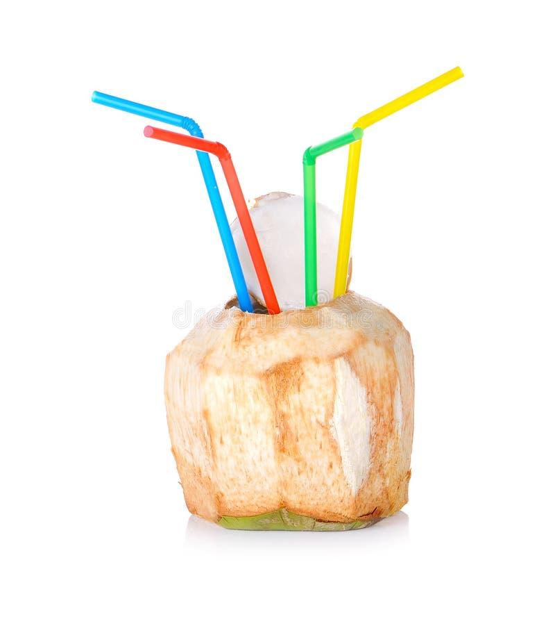 Boisson de l'eau de noix de coco sur le fond blanc images stock