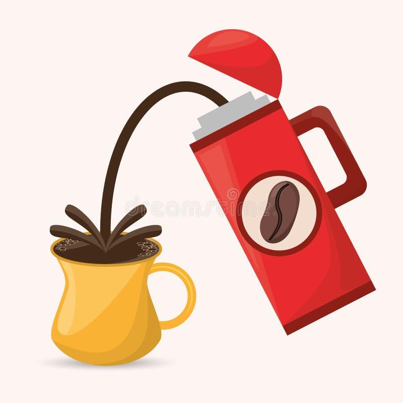 Boisson de tasse de thermos de café chaude illustration libre de droits