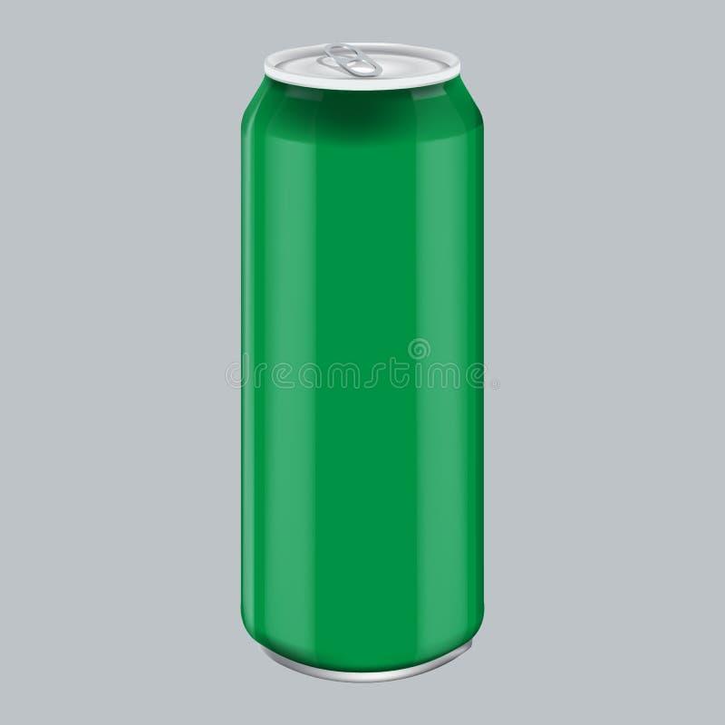 Boisson en aluminium de boisson en métal vert Maquette pour l'emballage de produit La boisson énergique peut 500ml, 0,5L illustration stock