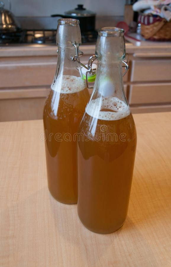 Boisson finie de kombucha juste mis en bouteille dans des bouteilles en verre image stock