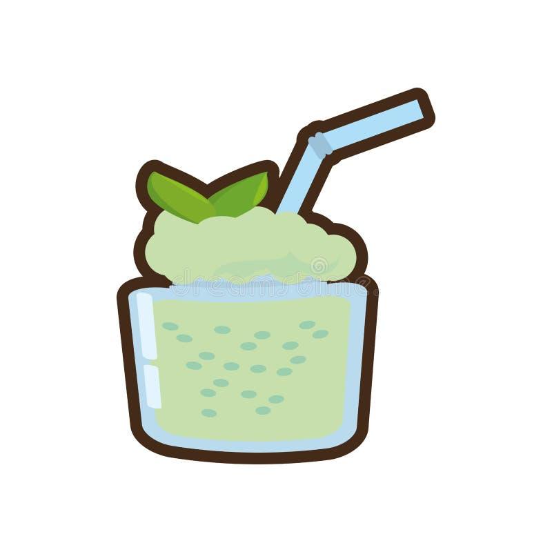 boisson fraîche de menthe de smoothie de bande dessinée illustration stock