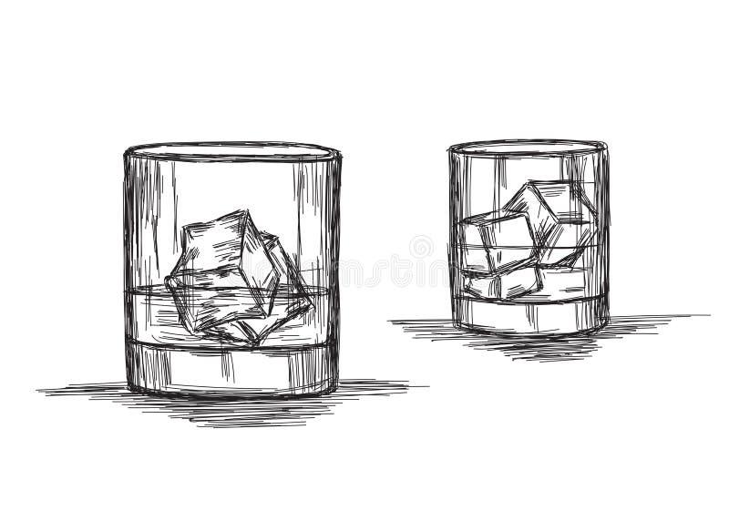 Boisson froide - Whiskey, rhum ou boisson froide - Dessin vectoriel Illustration illustration libre de droits
