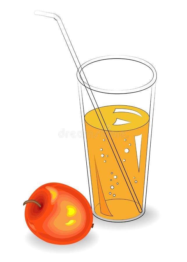 Boisson régénératrice saine délicieuse Dans un verre de jus de fruit naturel, pomme rouge mûre Illustration de vecteur illustration de vecteur