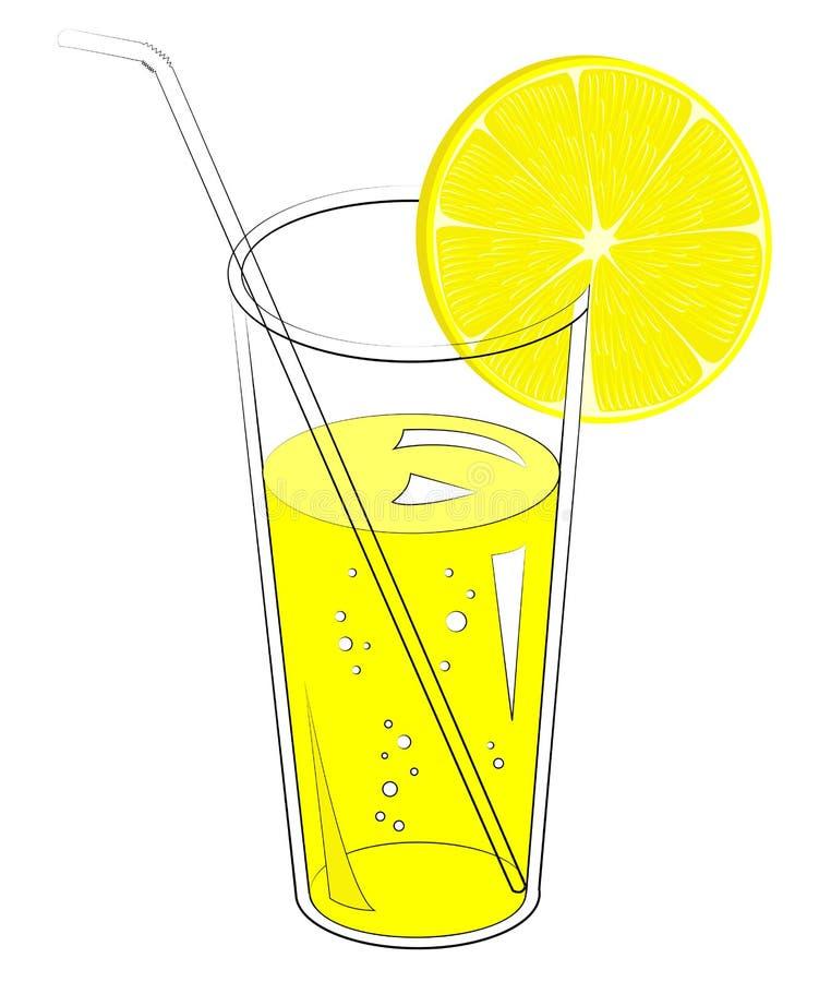 Boisson r?g?n?ratrice d?licieuse Dans un verre de jus de fruit naturel, une tranche de citron, orange Illustration de vecteur illustration de vecteur