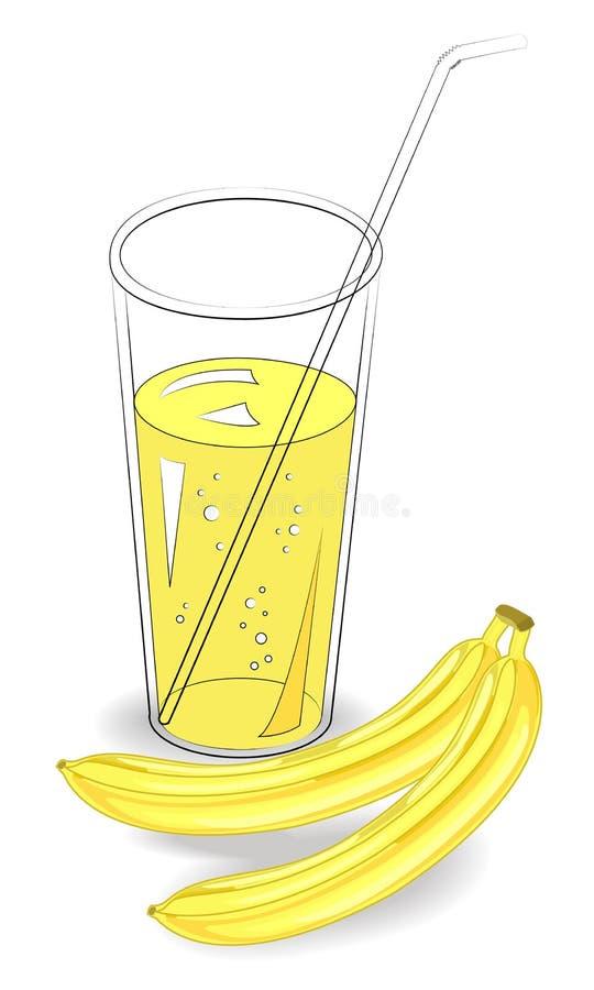 Boisson r?g?n?ratrice saine d?licieuse Dans un verre de jus de fruit naturel, deux bananes m?res Illustration de vecteur illustration libre de droits
