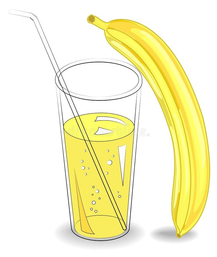 Boisson r?g?n?ratrice saine d?licieuse Dans un verre de jus de fruit naturel, deux bananes m?res Illustration de vecteur illustration de vecteur