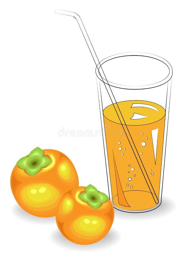 Boisson r?g?n?ratrice saine d?licieuse Dans un verre de jus de fruit naturel, kaki mûr Illustration de vecteur illustration stock