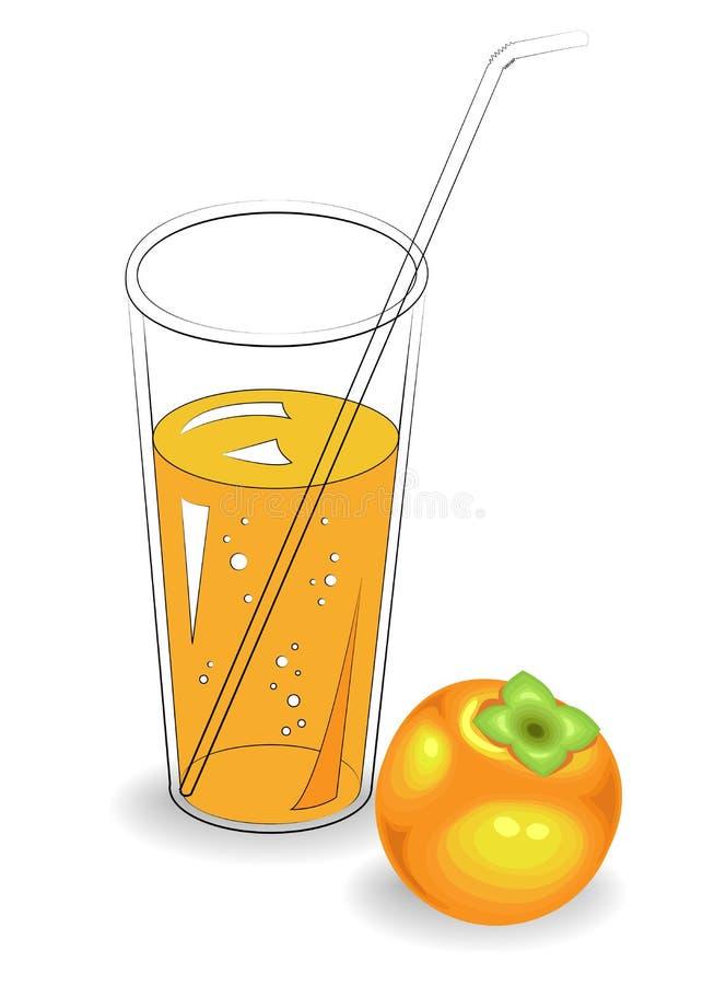 Boisson r?g?n?ratrice saine d?licieuse Dans un verre de jus de fruit naturel, kaki m?r Illustration de vecteur illustration de vecteur