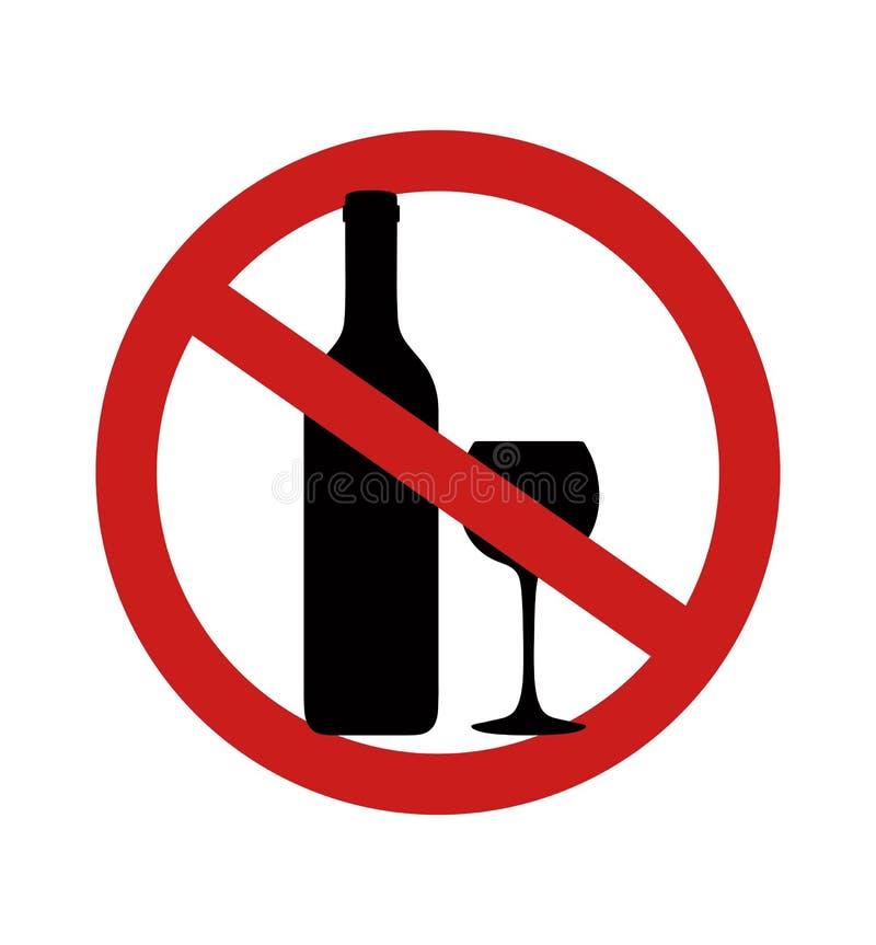 Boissons alcoolis?es d'arr?t Silhouette de bouteille pour l'alcool Illustration de vecteur photo stock
