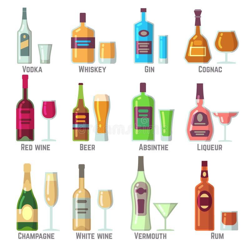 Boissons alcoolisées dans les icônes plates de vecteur de bouteilles et en verre réglées illustration stock
