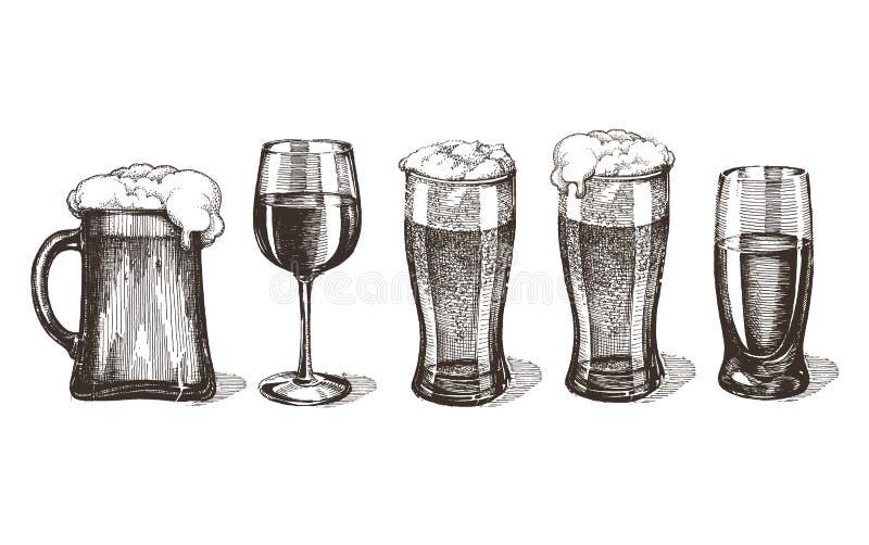 Boissons alcoolisées de barre sur un fond blanc croquis illustration libre de droits