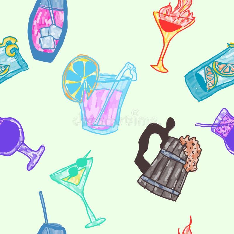 Boissons alcoolisées de griffonnage sans couture d'affiche lumineuses illustration libre de droits
