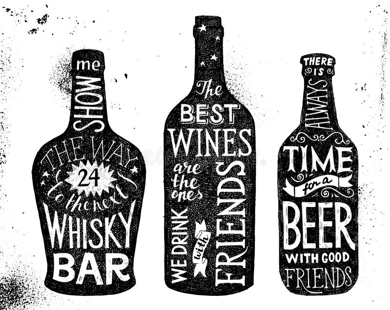Boissons alcoolisées, ensemble tiré par la main de lettrage illustration stock
