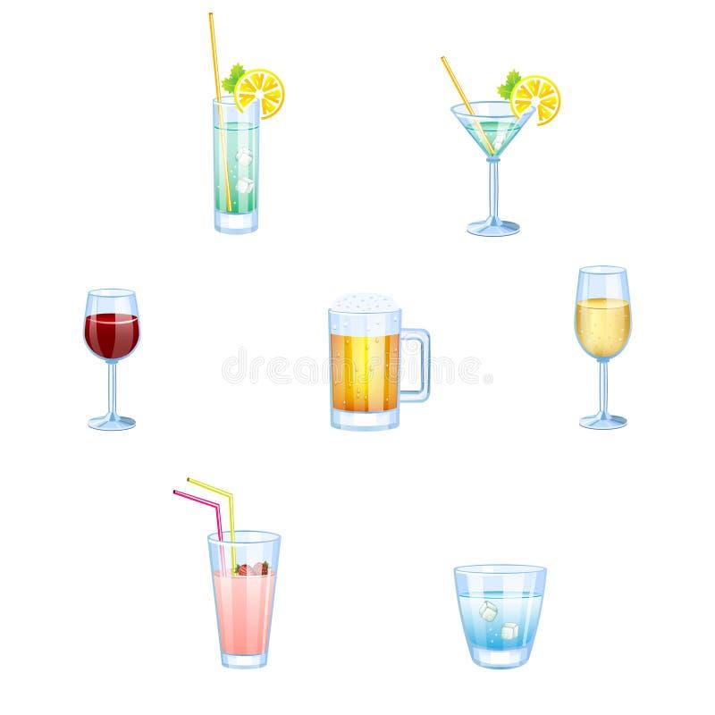 Boissons alcoolisées et boissons non alcoolisées avec des verres illustration de vecteur