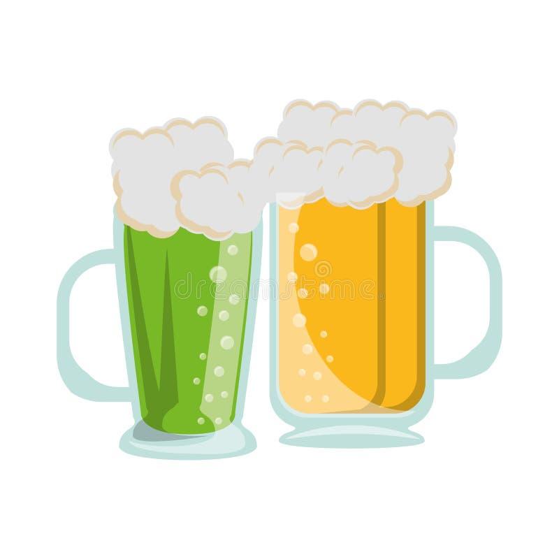 Boissons alcoolisées fraîches en verre de bière illustration stock