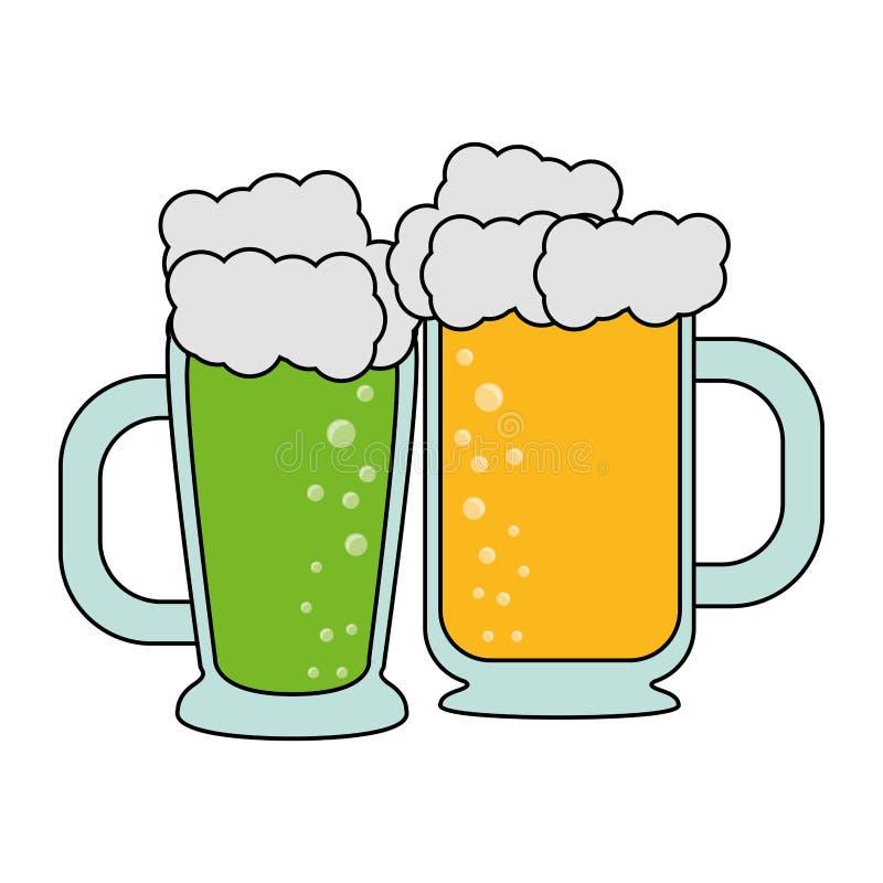 Boissons alcoolisées fraîches en verre de bière illustration de vecteur