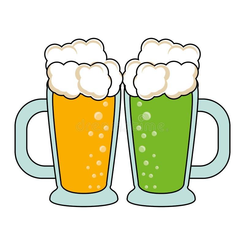 Boissons alcoolisées fraîches en verre de bière illustration libre de droits